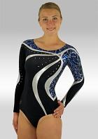 Turnpakje Lange Mouw Zwart Velours Blauw Zilver Wetlook Glitter Pailletten en Strass Steentjes V493