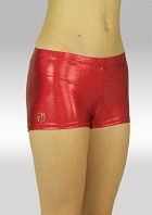 Legging hotpants wetlook Metallic rood S758ro