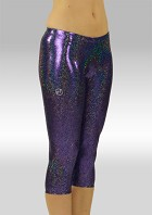 Legging 3/4 lang wetlook glitterstof paars W754475
