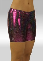 Legging kort wetlook aubergine glitter W756454