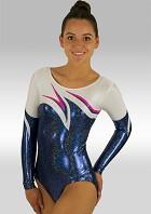 Turnpakje Lange Mouw Blauw Wit Roze Wetlook Glitter Pailletten en Strass Steentjes V496
